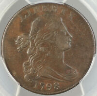 1798 Large Cent 1c, PCGS AU-50, S-187 2nd Hair Style (Draped Bust) DGH