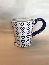 TWO BEARS POTTERY Blue Loving Hearts HAND PAINTED Ceramic Mug Cup Coffee Tea