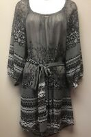 Lane Bryant Womens 14/16 Peasant Blouse Top Black Gray Semi-Sheer Printed Belt