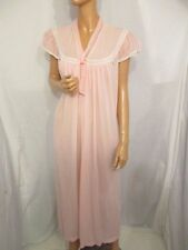 VINTAGE 60s BABY PINK FLOATY NIGHTIE PUSSY BOW EMBROIDERED FLORAL UK:16/18