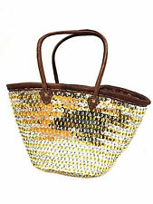 Fashion Sparkling Gold & Silver Sequin Leather Straw Tote French Bag Handbag XXL