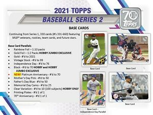 2021 Topps Series 2 Baseball - (330) Card Complete Base Set #331-660 PRESELL