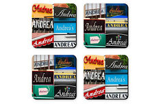 Personalized Coasters featuring the name ANDREA in photos of signs - Set of 4
