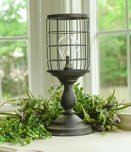 RUSTIC INDUSTRIAL Grungy Metal Tabletop Pedestal Lantern LED Lamp 6 Hour Timer
