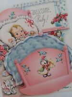 Vtg 1940-50s BABY Cradle FUZZY Blanket WELCOME BABY CONGRATS GREETING CARD