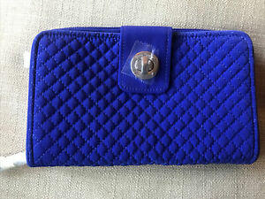 VERA BRADLEY RFID Turn Lock Wallet GAGE BLUE New With Tags MICROFIBER ROYAL BLUE