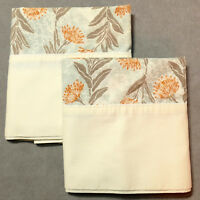 Linens Pillowcase VINTAGE Standard UTICA Floral Orange Multi Pair Lot of 2
