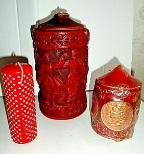 Three Red Wax Collectible Large 22 cm Heavy 3.2 kg Candles Japan / England