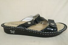Alegria Black Patent Leather Snake Print Slide Sandal Shoe Women 38 EU/US 8 -8.5
