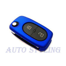 Azul Metalizado clave Cubierta Vw 2 botón Funda Remoto fob Protector PAC Bolsa Oval 42mb