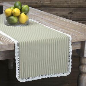 "VHC Brands Farmhouse 72""x13"" Table Runner Tan Kendra Stripe Kitchen Table Decor"