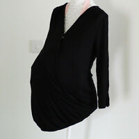 Maternity Plus Size Black Cotton Breastfeeding Nursing Top 6 8 10 12 14 16 18 20