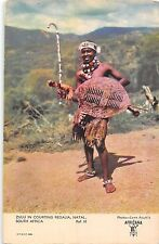 POSTCARD   SOUTH  AFRICA    SOCIAL  HISTORY   Zulu  in Courting  Regalia  Natal