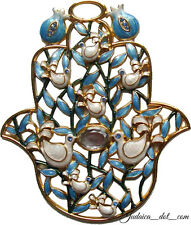 Good Luck Blue Enamel Hamsa Hand Wall Hanging Home Decor with Crystals 10 cm