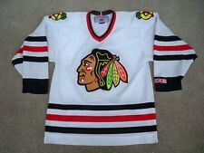 Vtg CCM Chicago Blackhawks NHL Hockey Stitched Jersey Uniform Size Medium Auto