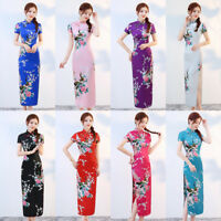 Traditional Chinese Costume Silk Satin Long Evening Dress Cheongsam Qipao S-3XL