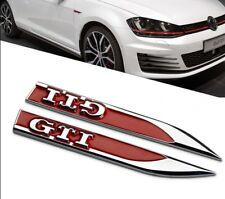 VW GTI emblem Logo Fender Side Sticker Red & Chrome GOLF POLO PASSAT