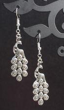 Peacock dangle earrings tibetan silver vintage retro birthday gift