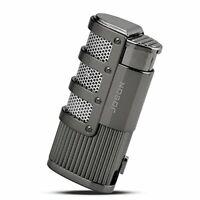 TOPKAY Cigar Lighter - Triple Jet Flame Torch Lighter with Cigar Punch Cutter
