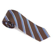New Men's Brown Blue Woven Stripe Neck Tie 100% Silk