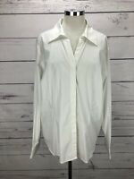 Coldwater Creek Women's Plus Size 2X White Long Sleeve Shirt Stretch Top NWT