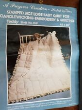 """Baby Quilt Candlewicking Embroidery Quilting Teddy 1581 Styled by Tobin 45 X 60"""""""
