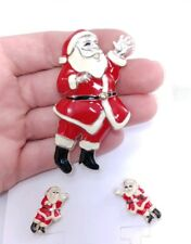 (W) Enamel Santa Waving Set Brooch Pin Pendant Earrings Christmas Holiday Xmas