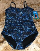 SPEEDO Shirred Royal Blue Aqua Blue Black 1 pc Swim Suit NEW Womens Sz 12 38