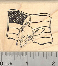 French Bulldog July 4th Rubber Stamp, Dog with American Flag H24902 WM