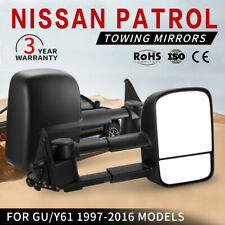 PAIR Towing Mirrors Extendable For Nissan Patrol GU/Y61 1997-2016 Black