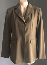 Pre-owned Khaki/Brown CUE IN THE CITY Single Breasted Long Sleeve Jacket Size 14
