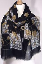 Designer Inspired Scarf Chain Print Black & Gold Pashmina Oversized Long NEW