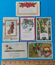 SET OF SIX VINTAGE CHRISTMAS POST CARDS! ONE-CENT AND TWO-CENT STAMPS 1910-1925!