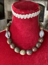 Large Brown Agate Bead Necklace With Silver Feature Beads And Fastening