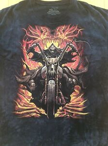 The Mountain 2XL T-Shirt Grimm Reaper on Motorcycle Flames Snake Skeleton EUC
