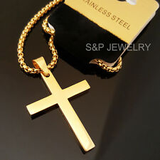 """Gold Stainless Steel Christian Cross Pendant & 24"""" Round Box Chain Necklace 128G"""