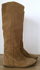 FABIO RUSCONI Italian Leather Womens Pull Up Tan Suede Flat Moccasins Boots Sz 5