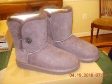 Girls UGG Boots Size 4 K Bailey Button Grey 5991 K/Chocolate NIB