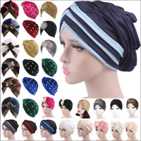 Women Flower Ruffle Turban Head Wrap Hat Chemo Muslim Hijab Pleated Indian Cap