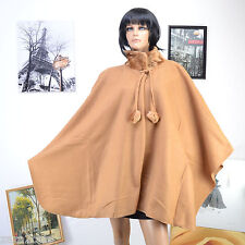 Poncho Femme Grande Taille Cape Col Fourrure 40 42 44 46 48 50 52 54 BEIGE BIG
