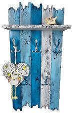Handmade Echtholz Garderobe Shabby Chic Massivholz blau weiß Landhaus Holz