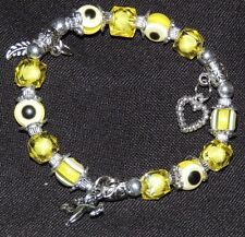 Fashion Bracelet, Beaded with Silver Charms and Accents