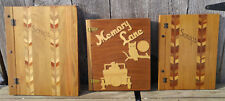 3 Antique Vintage Folk Art Marquetry Inlaid Wood Covered Scrapbooks Photo Albums