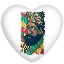 Haile Selassie Rasta Wall Art Faux Silk Heart Shaped Sofa Cushion