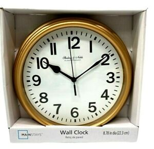 "Sterling & Noble Wall Clock  8.78"" Analog Quartz GOLD TRADITIONAL gift metallic"
