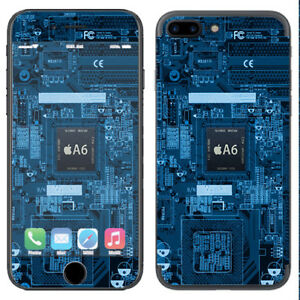 Skin Decal Vinyl Wrap for Apple iPhone 7 PLUS / circuit2 blue