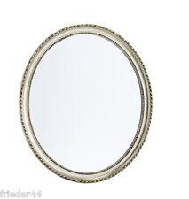 Spiegel oval 57x67 silber Wandspiegel Badspiegel Wanddeko Landhaus Barock 012-2s