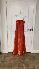 Cache Women's Formal Prom Evening Gown Beaded Orange Sleeveless Size XS