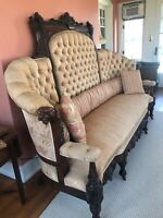 Original antique ornate couch newly upholstered