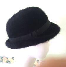 chapeau vintage noir en fourrure angora